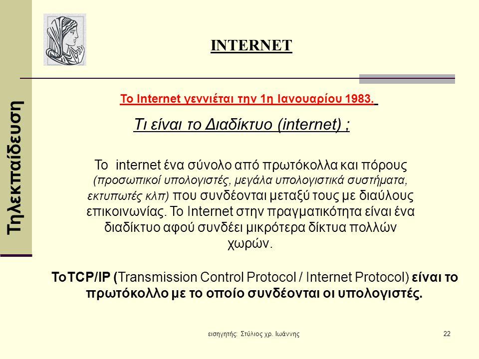 Τηλεκπαίδευση εισηγητής: Στύλιος χρ. Ιωάννης22 Τι είναι το Διαδίκτυο (internet) ; INTERNET Το Internet γεννιέται την 1η Ιανουαρίου 1983. ΤοTCP/IP (Tra