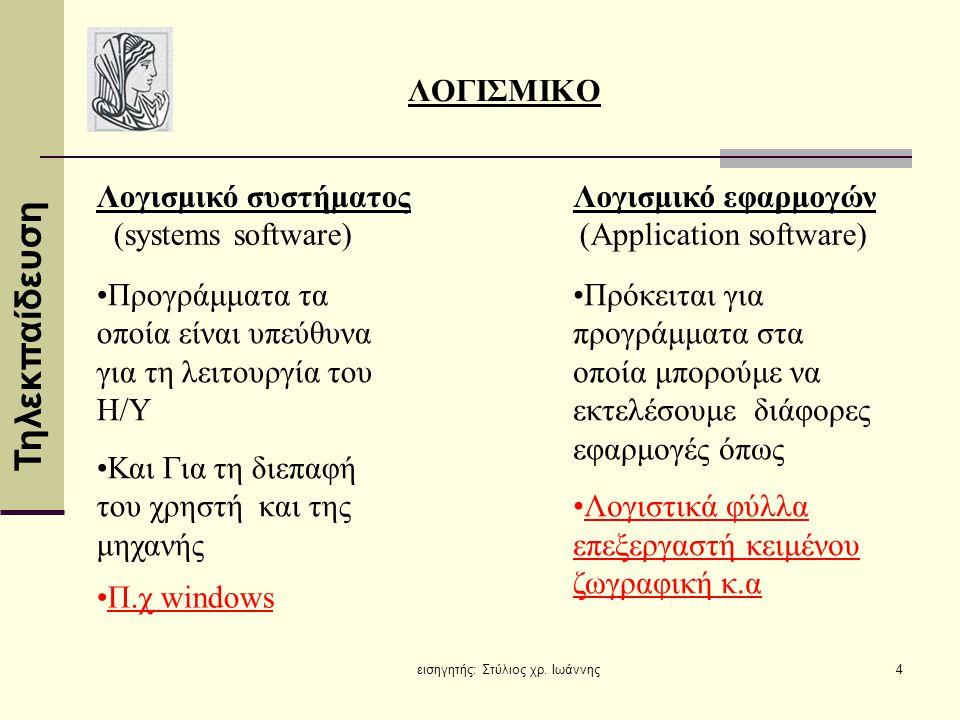 Τηλεκπαίδευση εισηγητής: Στύλιος χρ. Ιωάννης4 ΛΟΓΙΣΜΙΚΟ Λογισμικό συστήματος Λογισμικό εφαρμογών (systems software)(Application software) •Προγράμματα