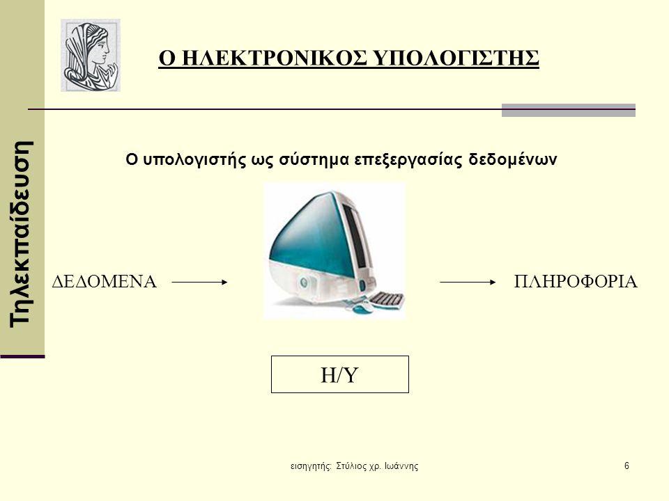 Τηλεκπαίδευση εισηγητής: Στύλιος χρ. Ιωάννης6 Η/Υ ΔΕΔΟΜΕΝΑΠΛΗΡΟΦΟΡΙΑ Ο ΗΛΕΚΤΡΟΝΙΚΟΣ ΥΠΟΛΟΓΙΣΤΗΣ Ο υπολογιστής ως σύστημα επεξεργασίας δεδομένων