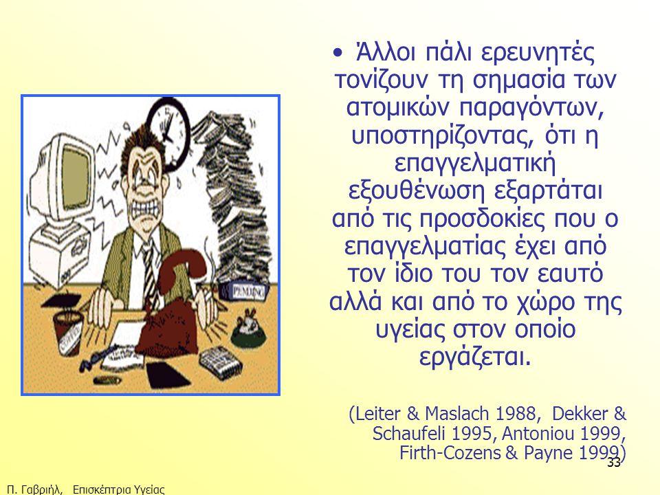 Π. Γαβριήλ, Επισκέπτρια Υγείας 33 •Άλλοι πάλι ερευνητές τονίζουν τη σημασία των ατομικών παραγόντων, υποστηρίζοντας, ότι η επαγγελματική εξουθένωση εξ