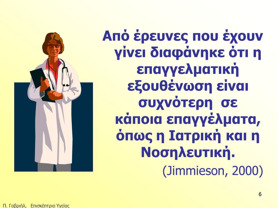 Π. Γαβριήλ, Επισκέπτρια Υγείας 6 Από έρευνες που έχουν γίνει διαφάνηκε ότι η επαγγελματική εξουθένωση είναι συχνότερη σε κάποια επαγγέλματα, όπως η Ια