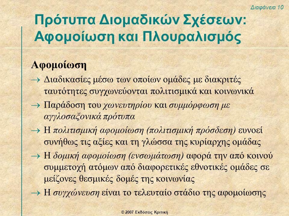© 2007 Εκδόσεις Κριτική Διαφάνεια 10 Αφομοίωση  Διαδικασίες μέσω των οποίων ομάδες με διακριτές ταυτότητες συγχωνεύονται πολιτισμικά και κοινωνικά  Παράδοση του χωνευτηρίου και συμμόρφωση με αγγλοσαξονικά πρότυπα  Η πολιτισμική αφομοίωση (πολιτισμική πρόσδεση) ευνοεί συνήθως τις αξίες και τη γλώσσα της κυρίαρχης ομάδας  Η δομική αφομοίωση (ενσωμάτωση) αφορά την από κοινού συμμετοχή ατόμων από διαφορετικές εθνοτικές ομάδες σε μείζονες θεσμικές δομές της κοινωνίας  Η συγχώνευση είναι το τελευταίο στάδιο της αφομοίωσης Πρότυπα Διομαδικών Σχέσεων: Αφομοίωση και Πλουραλισμός
