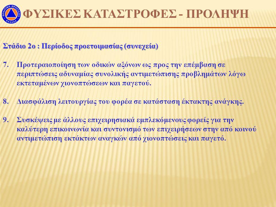 ΦΥΣΙΚΕΣ ΚΑΤΑΣΤΡΟΦΕΣ - ΠΡΟΛΗΨΗ Στάδιο 2ο : Περίοδος προετοιμασίας (συνεχεία) 7.Προτεραιοποίηση των οδικών αξόνων ως προς την επέμβαση σε περιπτώσεις αδ
