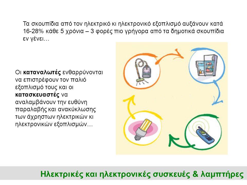Ηλεκτρικές και ηλεκτρονικές συσκευές & λαμπτήρες Τα σκουπίδια από τον ηλεκτρικό κι ηλεκτρονικό εξοπλισμό αυξάνουν κατά 16-28% κάθε 5 χρόνια – 3 φορές πιο γρήγορα από τα δημοτικά σκουπίδια εν γένει… Οι καταναλωτές ενθαρρύνονται να επιστρέφουν τον παλιό εξοπλισμό τους και οι κατασκευαστές να αναλαμβάνουν την ευθύνη παραλαβής και ανακύκλωσης των άχρηστων ηλεκτρικών κι ηλεκτρονικών εξοπλισμών…