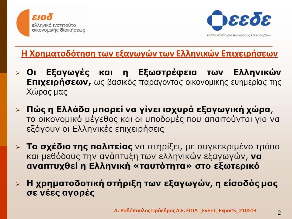 Οι Εξαγωγές και η Εξωστρέφεια των Ελληνικών Επιχειρήσεων, ως βασικός παράγοντας οικονομικής ευημερίας της Χώρας μας  Πώς η Ελλάδα μπορεί να γίνει ισχυρά εξαγωγική χώρα, το οικονομικό μέγεθος και οι υποδομές που απαιτούνται για να εξάγουν οι Ελληνικές επιχειρήσεις  Το σχέδιο της πολιτείας να στηρίξει, με συγκεκριμένο τρόπο και μεθόδους την ανάπτυξη των ελληνικών εξαγωγών, να αναπτυχθεί η Ελληνική «ταυτότητα» στο εξωτερικό  Η χρηματοδοτική στήριξη των εξαγωγών, η είσοδός μας σε νέες αγορές Η Χρηματοδότηση των εξαγωγών των Ελληνικών Επιχειρήσεων 2 Α.