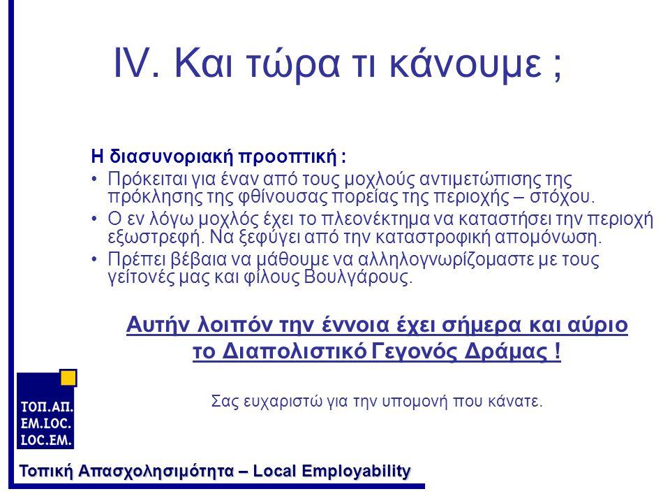 Τοπική Απασχολησιμότητα – Local Employability IV.