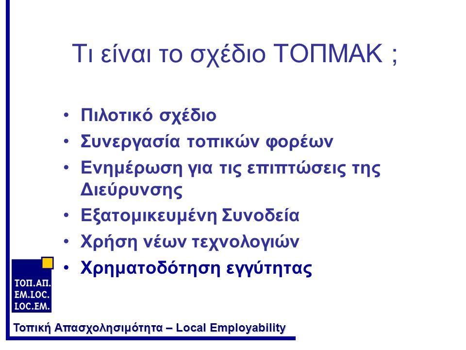 Τοπική Απασχολησιμότητα – Local Employability Τι είναι το σχέδιο ΤΟΠΜΑΚ ; •Πιλοτικό σχέδιο •Συνεργασία τοπικών φορέων •Ενημέρωση για τις επιπτώσεις της Διεύρυνσης •Εξατομικευμένη Συνοδεία •Χρήση νέων τεχνολογιών •Χρηματοδότηση εγγύτητας