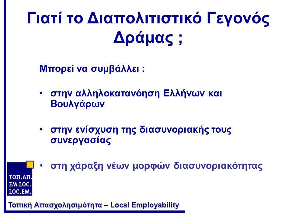 Τοπική Απασχολησιμότητα – Local Employability Μπορεί να συμβάλλει : •στην αλληλοκατανόηση Ελλήνων και Βουλγάρων •στην ενίσχυση της διασυνοριακής τους συνεργασίας •στη χάραξη νέων μορφών διασυνοριακότητας Γιατί το Διαπολιτιστικό Γεγονός Δράμας ;