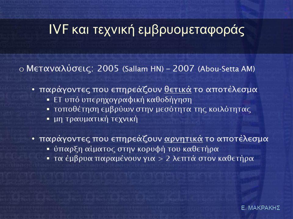 Ε. ΜΑΚΡΑΚΗΣ IVF κ αι τ εχνική ε μβρυομεταφοράς o Μεταναλύσεις: 2005 ( Sallam HN) – 2007 ( Abou-Setta AM) • παράγοντες που επηρεάζουν θετικά το αποτέλε