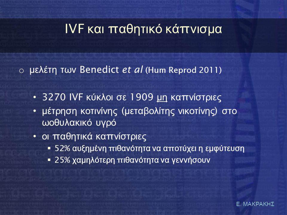 Ε. ΜΑΚΡΑΚΗΣ IVF κ αι π αθητικό κ ά π νισμα o μελέτη των Benedict et al (Hum Reprod 2011) • 3270 IVF κύκλοι σε 1909 μη κα π νίστριες •μέτρηση κοτινίνης