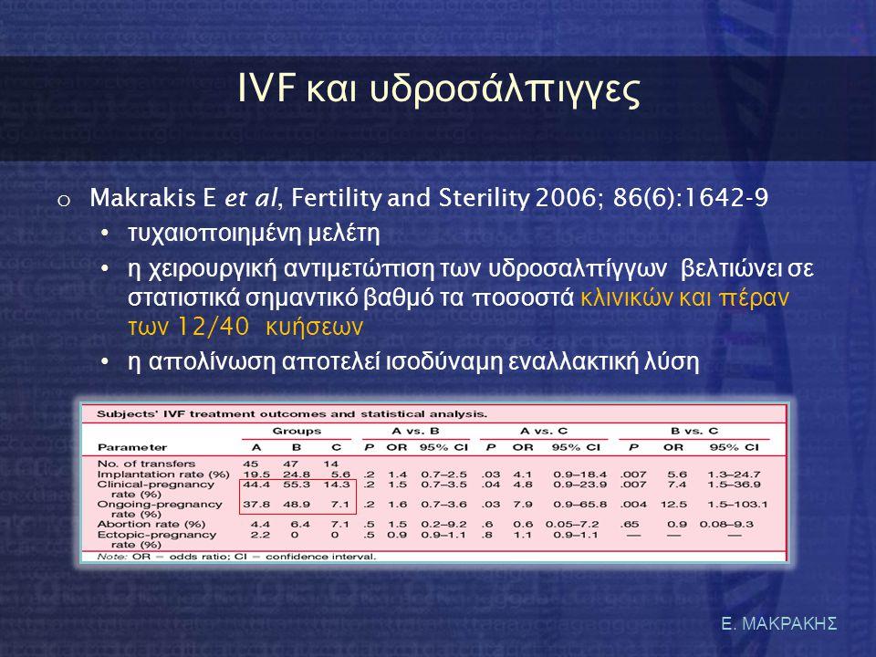 Ε. ΜΑΚΡΑΚΗΣ IVF κ αι υ δροσάλ π ιγγες o Makrakis E et al, Fertility and Sterility 2006; 86(6):1642-9 •τυχαιο π οιημένη μελέτη •η χειρουργική αντιμετώ