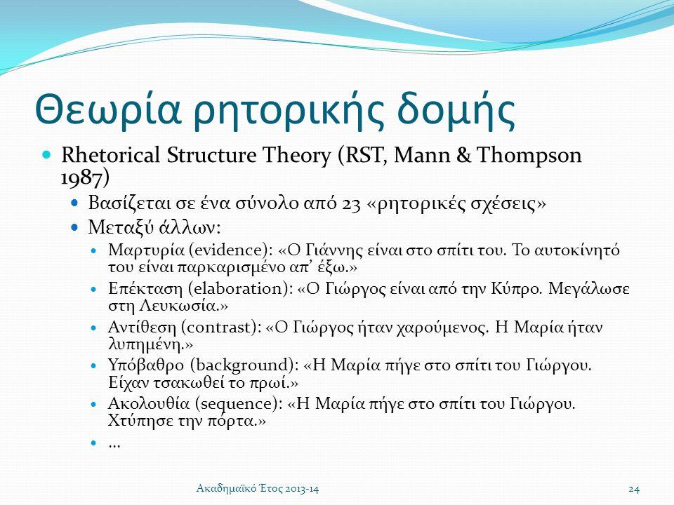 Θεωρία ρητορικής δομής  Rhetorical Structure Theory (RST, Mann & Thompson 1987)  Βασίζεται σε ένα σύνολο από 23 «ρητορικές σχέσεις»  Μεταξύ άλλων: