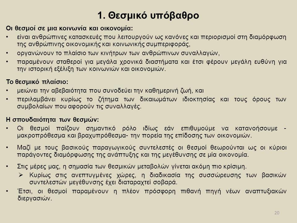 20 1. Θεσμικό υπόβαθρο Οι θεσμοί σε μια κοινωνία και οικονομία: •είναι ανθρώπινες κατασκευές που λειτουργούν ως κανόνες και περιορισμοί στη διαμόρφωση