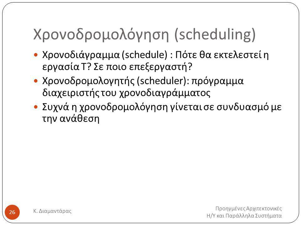 Χρονοδρομολόγηση (scheduling) Προηγμένες Αρχιτεκτονικές Η / Υ και Παράλληλα Συστήματα Κ.