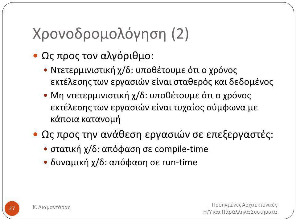 Χρονοδρομολόγηση (2) Προηγμένες Αρχιτεκτονικές Η / Υ και Παράλληλα Συστήματα Κ.