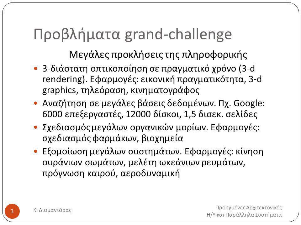 Προβλήματα grand-challenge Προηγμένες Αρχιτεκτονικές Η / Υ και Παράλληλα Συστήματα Κ.