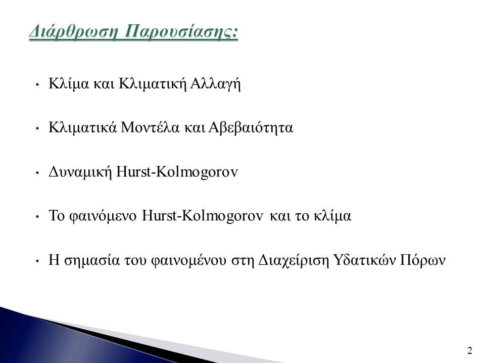 • Κλίμα και Κλιματική Αλλαγή • Κλιματικά Μοντέλα και Αβεβαιότητα • Δυναμική Hurst-Kolmogorov • Το φαινόμενο Hurst-Kolmogorov και το κλίμα • Η σημασία