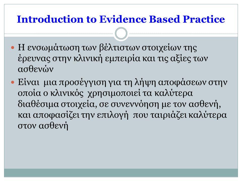 Introduction to Evidence Based Practice  Η ενσωμάτωση των βέλτιστων στοιχείων της έρευνας στην κλινική εμπειρία και τις αξίες των ασθενών  Είναι μια