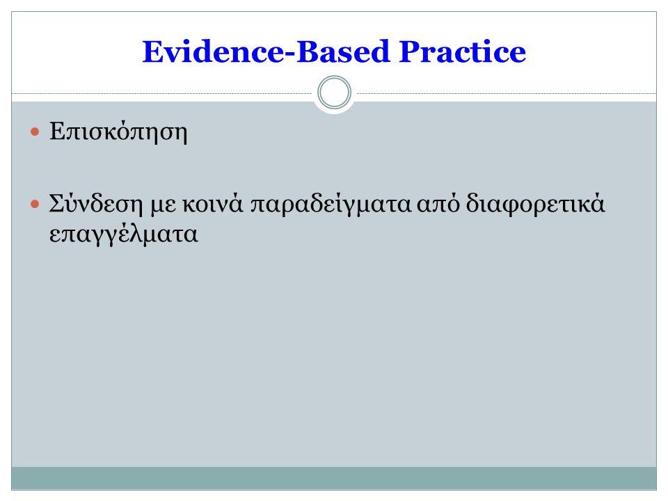 Evidence-Based Practice  Επισκόπηση  Σύνδεση με κοινά παραδείγματα από διαφορετικά επαγγέλματα