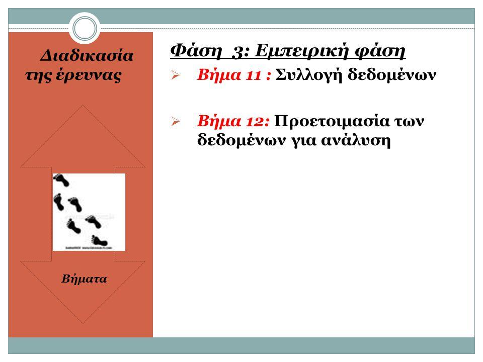 ΔΙΑΔΙΑΚΑΣΙΑ ΤΗΣ ΕΡΕΥΝΑΣ  ΦΑΣΗ 4: Αναλυτική  Βήμα 13 : Ανάλυση των δεδομένων  Βήμα 14: Ερμηνεία των αποτελεσμάτων  ΦΑΣΗ 5: Διάδοσης  Βήμα 15: Ανακοίνωση αποτελεσμάτων  Βήμα 16: Χρησιμοποίηση των ευρημάτων