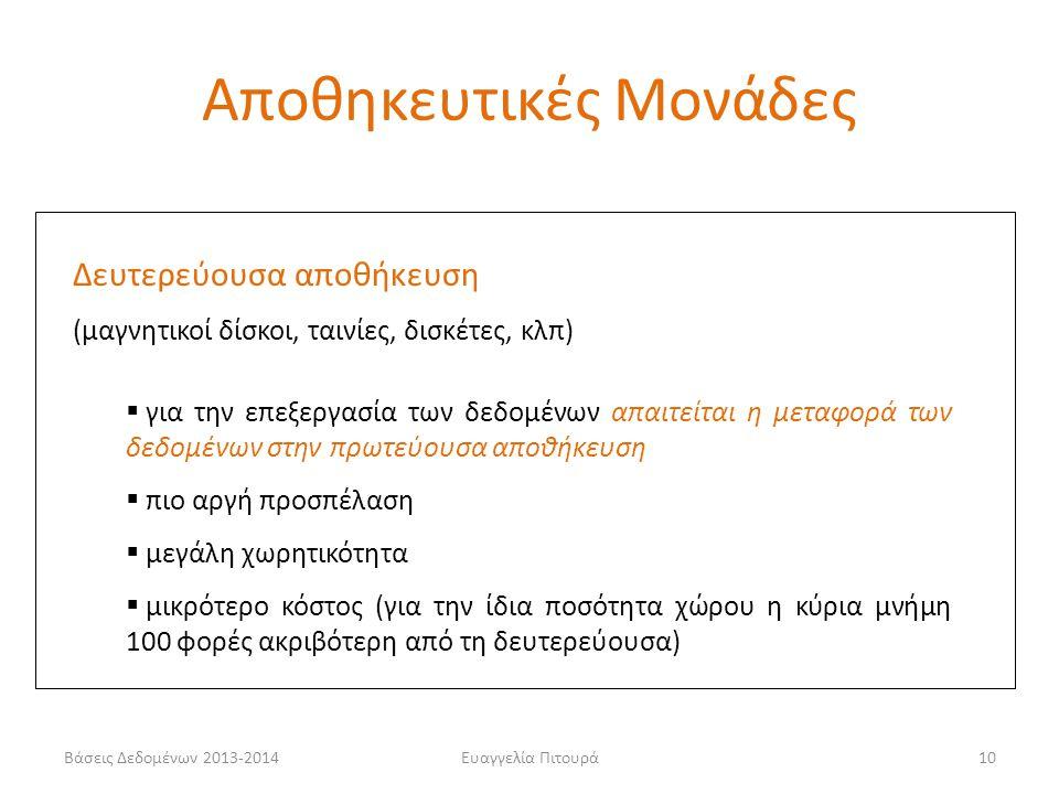 Βάσεις Δεδομένων 2013-2014Ευαγγελία Πιτουρά10 Δευτερεύουσα αποθήκευση (μαγνητικοί δίσκοι, ταινίες, δισκέτες, κλπ)  για την επεξεργασία των δεδομένων