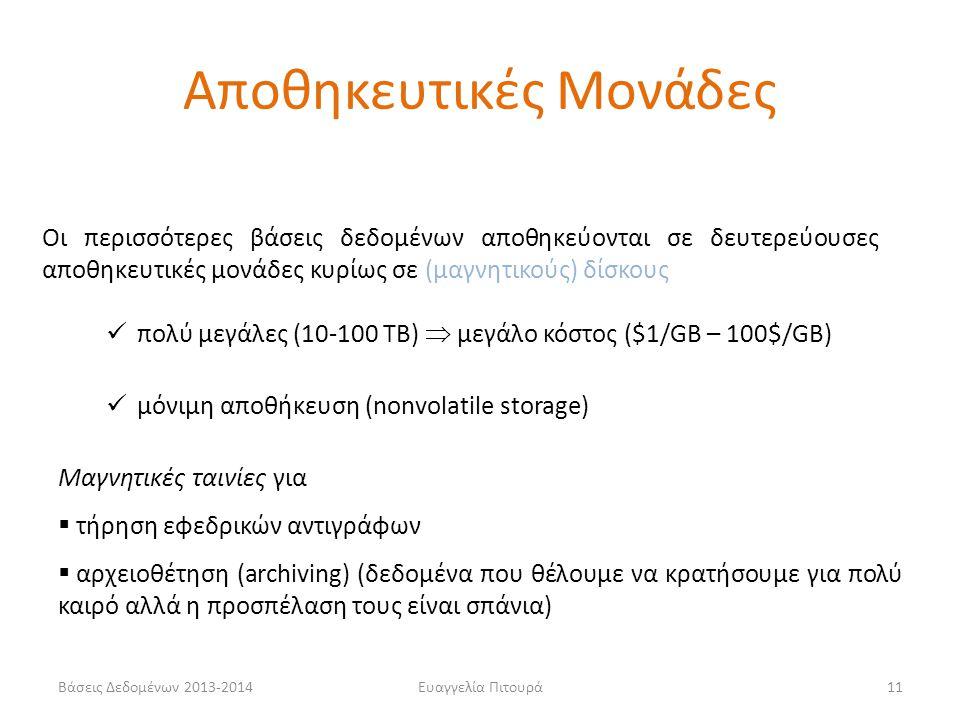 Βάσεις Δεδομένων 2013-2014Ευαγγελία Πιτουρά11 Οι περισσότερες βάσεις δεδομένων αποθηκεύονται σε δευτερεύουσες αποθηκευτικές μονάδες κυρίως σε (μαγνητι