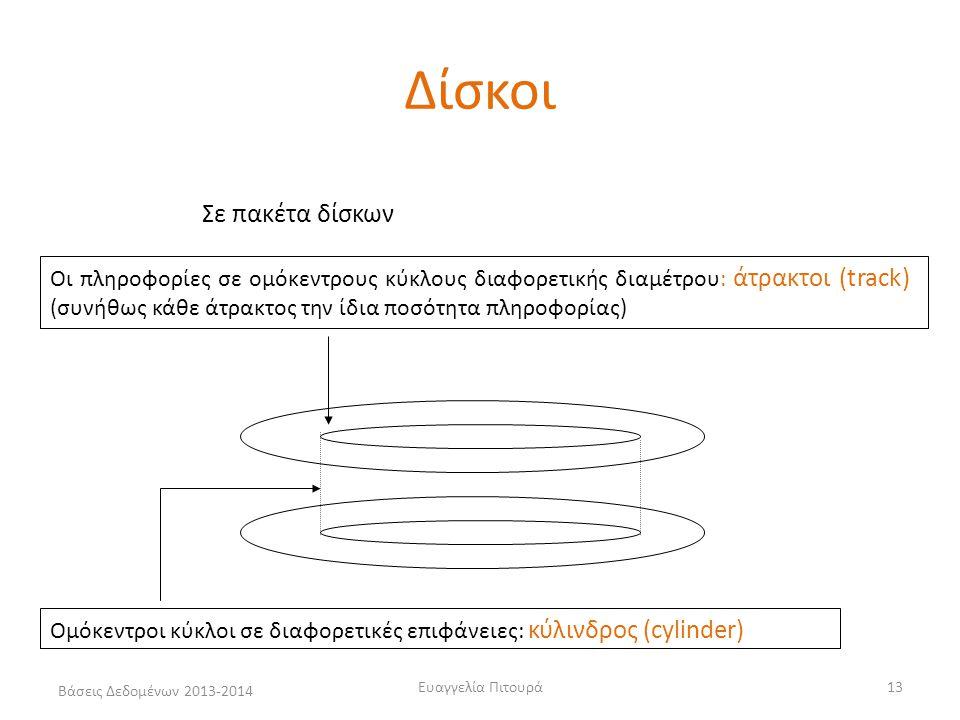 Βάσεις Δεδομένων 2013-2014 Ευαγγελία Πιτουρά13 Σε πακέτα δίσκων Ομόκεντροι κύκλοι σε διαφορετικές επιφάνειες: κύλινδρος (cylinder) Οι πληροφορίες σε ο