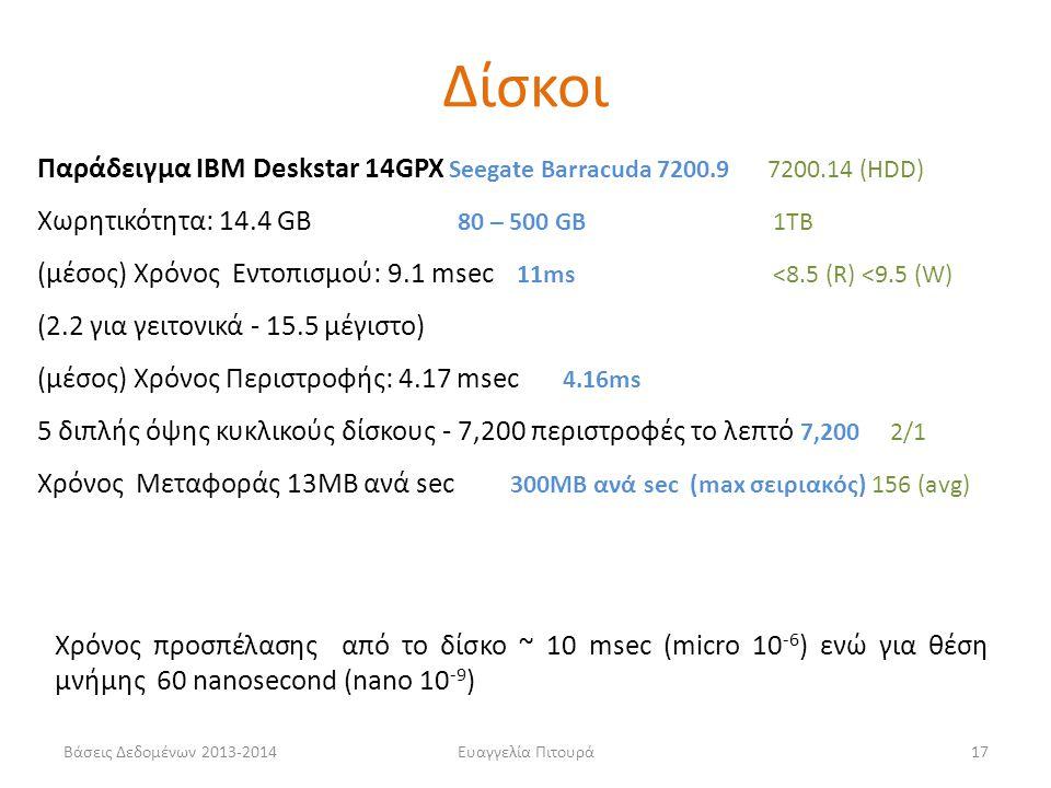 Βάσεις Δεδομένων 2013-2014Ευαγγελία Πιτουρά17 Παράδειγμα IBM Deskstar 14GPX Seegate Barracuda 7200.9 7200.14 (HDD) Χωρητικότητα: 14.4 GB 80 – 500 GB1T