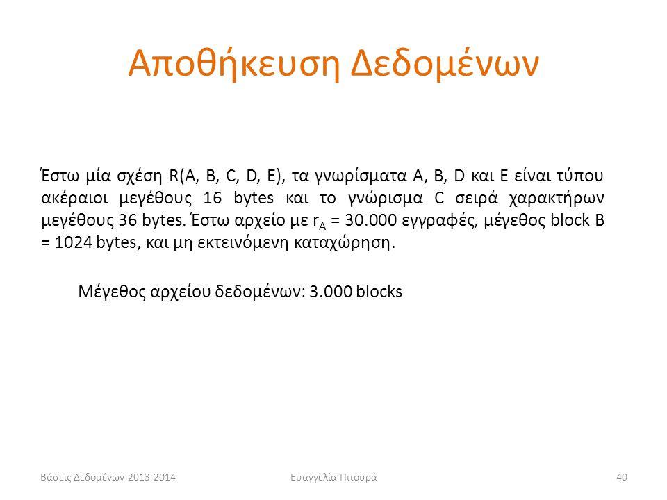 Ευαγγελία Πιτουρά40 Έστω μία σχέση R(A, B, C, D, E), τα γνωρίσματα Α, Β, D και E είναι τύπου ακέραιοι μεγέθους 16 bytes και το γνώρισμα C σειρά χαρακτ