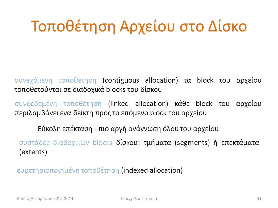 Βάσεις Δεδομένων 2013-2014Ευαγγελία Πιτουρά41 συνεχόμενη τοποθέτηση (contiguous allocation) τα block του αρχείου τοποθετούνται σε διαδοχικά blocks του