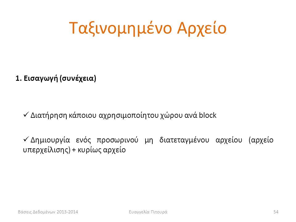 Βάσεις Δεδομένων 2013-2014Ευαγγελία Πιτουρά54 1. Εισαγωγή (συνέχεια)  Διατήρηση κάποιου αχρησιμοποίητου χώρου ανά block  Δημιουργία ενός προσωρινού