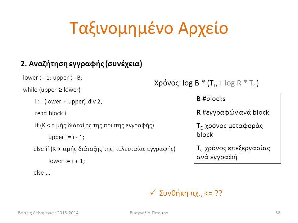 Βάσεις Δεδομένων 2013-2014Ευαγγελία Πιτουρά56 2. Αναζήτηση εγγραφής (συνέχεια) lower := 1; upper := Β; while (upper  lower) i := (lower + upper) div