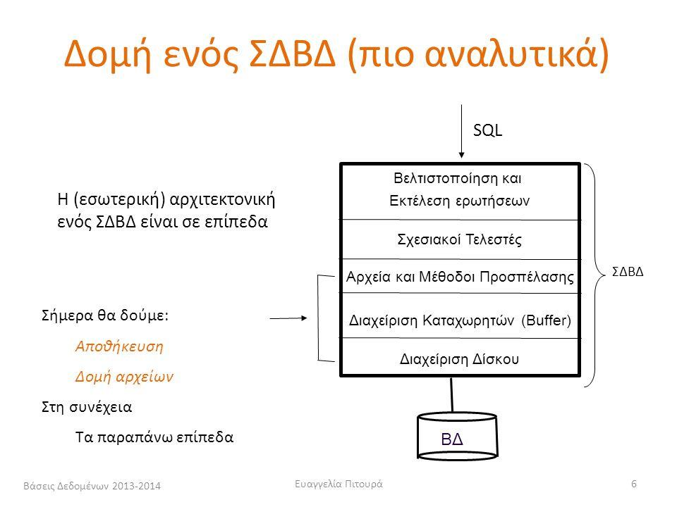 Βάσεις Δεδομένων 2013-2014Ευαγγελία Πιτουρά17 Παράδειγμα IBM Deskstar 14GPX Seegate Barracuda 7200.9 7200.14 (HDD) Χωρητικότητα: 14.4 GB 80 – 500 GB1TB (μέσος) Χρόνος Εντοπισμού: 9.1 msec 11ms<8.5 (R) <9.5 (W) (2.2 για γειτονικά - 15.5 μέγιστο) (μέσος) Χρόνος Περιστροφής: 4.17 msec 4.16ms 5 διπλής όψης κυκλικούς δίσκους - 7,200 περιστροφές το λεπτό 7,200 2/1 Χρόνος Μεταφοράς 13MB ανά sec 300MB ανά sec (max σειριακός) 156 (avg) Χρόνος προσπέλασης από το δίσκο ~ 10 msec (micro 10 -6 ) ενώ για θέση μνήμης 60 nanosecond (nano 10 -9 ) Δίσκοι