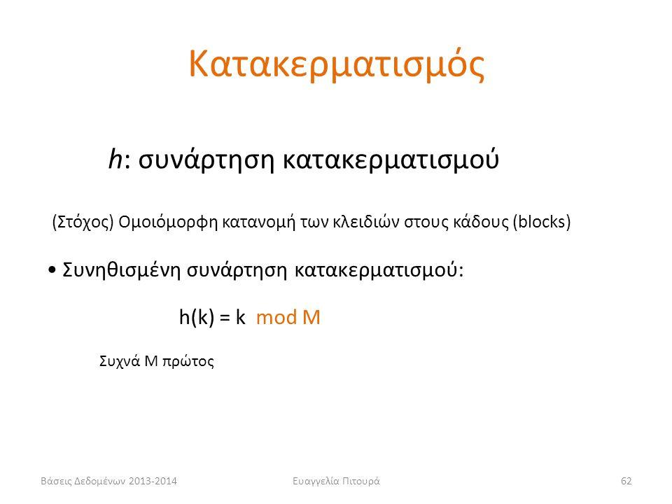 Βάσεις Δεδομένων 2013-2014Ευαγγελία Πιτουρά62 h: συνάρτηση κατακερματισμού • Συνηθισμένη συνάρτηση κατακερματισμού: h(k) = k mod M (Στόχος) Ομοιόμορφη