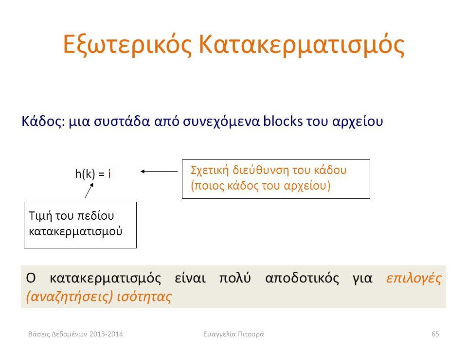 Βάσεις Δεδομένων 2013-2014Ευαγγελία Πιτουρά65 h(k) = i Τιμή του πεδίου κατακερματισμού Σχετική διεύθυνση του κάδου (ποιος κάδος του αρχείου) Κάδος: μι