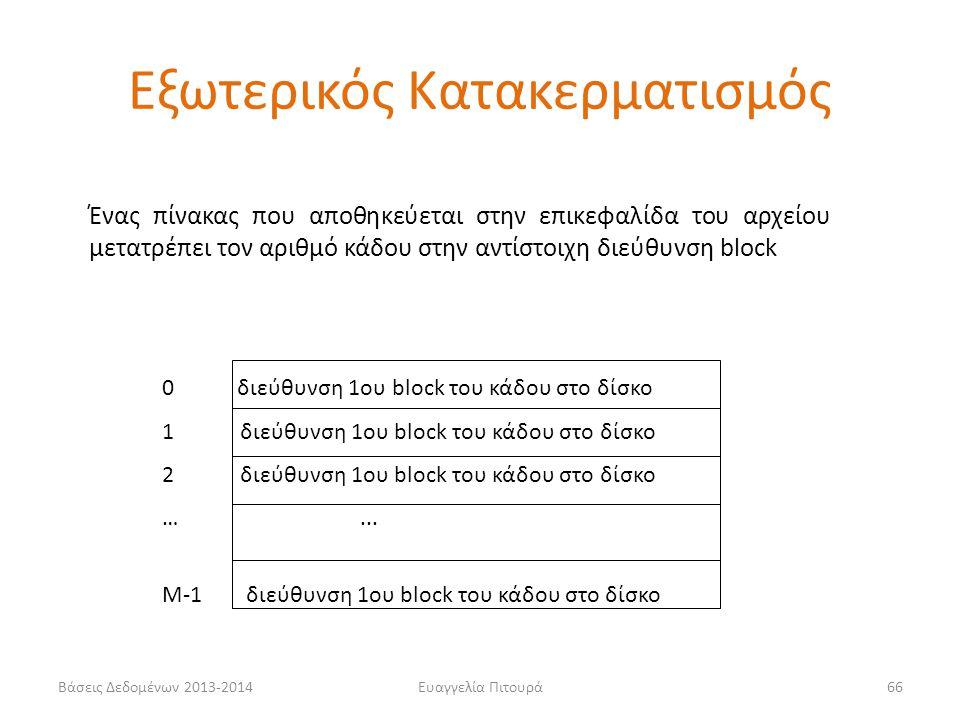 Βάσεις Δεδομένων 2013-2014Ευαγγελία Πιτουρά66 Ένας πίνακας που αποθηκεύεται στην επικεφαλίδα του αρχείου μετατρέπει τον αριθμό κάδου στην αντίστοιχη δ