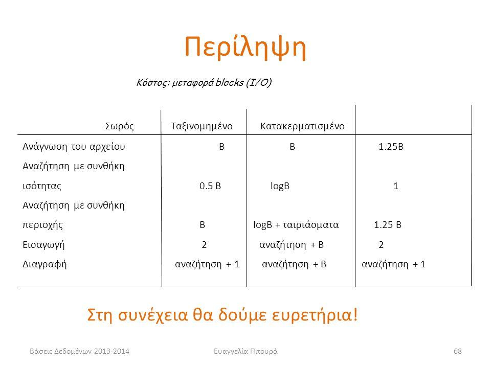 Ευαγγελία Πιτουρά68 Σωρός Ταξινομημένο Κατακερματισμένο Ανάγνωση του αρχείου Β B 1.25B Αναζήτηση με συνθήκη ισότητας 0.5 B logB 1 Αναζήτηση με συνθήκη