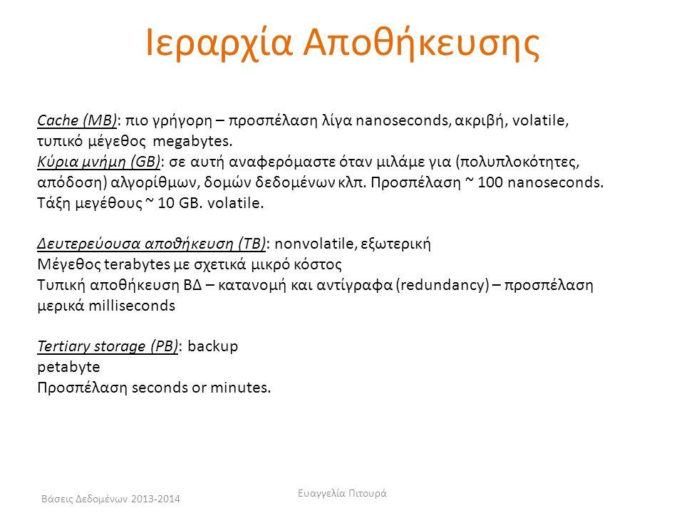 Βάσεις Δεδομένων 2013-2014 Ευαγγελία Πιτουρά Ιεραρχία Αποθήκευσης Cache (MB): πιο γρήγορη – προσπέλαση λίγα nanoseconds, ακριβή, volatile, τυπικό μέγε