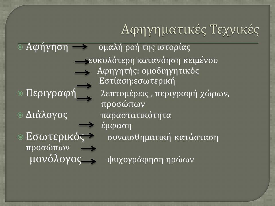  Αφήγηση ομαλή ροή της ιστορίας ευκολότερη κατανόηση κειμένου Αφηγητής : ομοδιηγητικός Εστίαση : εσωτερική  Περιγραφή λεπτομέρεις, περιγραφή χώρων, προσώπων  Διάλογος παραστατικότητα έμφαση  Εσωτερικός συναισθηματική κατάσταση προσώπων μονόλογος ψυχογράφηση ηρώων