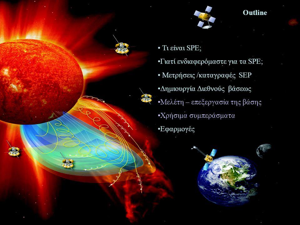 • Τι είναι SPE; •Γιατί ενδιαφερόμαστε για τα SPE; • Μετρήσεις /καταγραφές SEP •Δημιουργία Διεθνούς βάσεως •Mελέτη – επεξεργασία της βάσης •Χρήσιμα συμπεράσματα •Εφαρμογές Outline