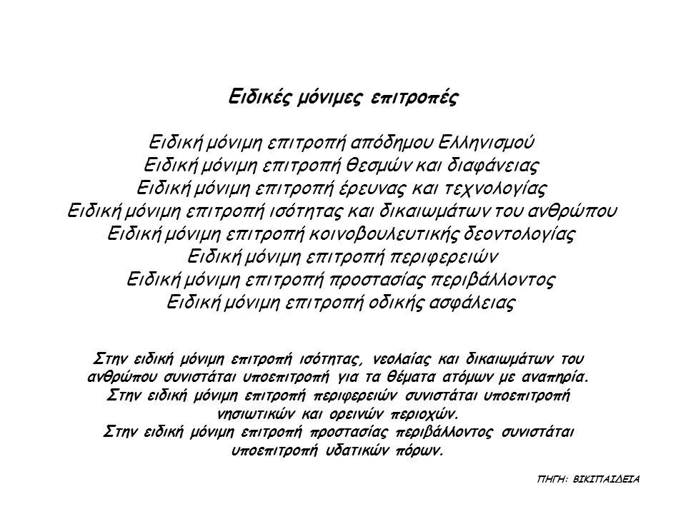 Ειδικές μόνιμες επιτροπές Ειδική μόνιμη επιτροπή απόδημου Ελληνισμού Ειδική μόνιμη επιτροπή θεσμών και διαφάνειας Ειδική μόνιμη επιτροπή έρευνας και τεχνολογίας Ειδική μόνιμη επιτροπή ισότητας και δικαιωμάτων του ανθρώπου Ειδική μόνιμη επιτροπή κοινοβουλευτικής δεοντολογίας Ειδική μόνιμη επιτροπή περιφερειών Ειδική μόνιμη επιτροπή προστασίας περιβάλλοντος Ειδική μόνιμη επιτροπή οδικής ασφάλειας Στην ειδική μόνιμη επιτροπή ισότητας, νεολαίας και δικαιωμάτων του ανθρώπου συνιστάται υποεπιτροπή για τα θέματα ατόμων με αναπηρία.
