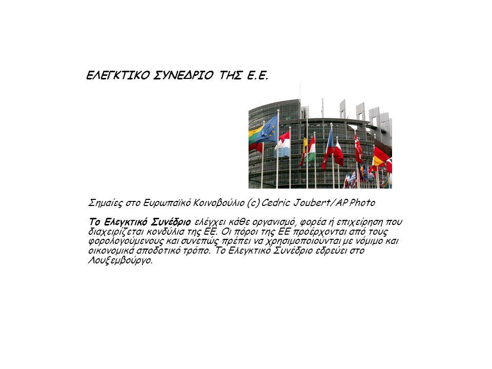 Σημαίες στο Ευρωπαϊκό Κοινοβούλιο (c) Cedric Joubert/AP Photo Το Ελεγκτικό Συνέδριο ελέγχει κάθε οργανισμό, φορέα ή επιχείρηση που διαχειρίζεται κονδύλια της ΕΕ.