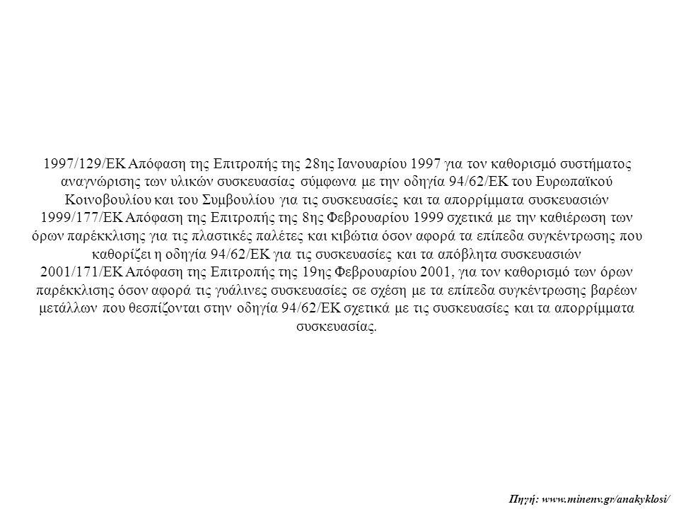 1997/129/ΕΚ Απόφαση της Επιτροπής της 28ης Ιανουαρίου 1997 για τον καθορισμό συστήματος αναγνώρισης των υλικών συσκευασίας σύμφωνα με την οδηγία 94/62/ΕΚ του Ευρωπαϊκού Κοινοβουλίου και του Συμβουλίου για τις συσκευασίες και τα απορρίμματα συσκευασιών 1999/177/ΕΚ Απόφαση της Επιτροπής της 8ης Φεβρουαρίου 1999 σχετικά με την καθιέρωση των όρων παρέκκλισης για τις πλαστικές παλέτες και κιβώτια όσον αφορά τα επίπεδα συγκέντρωσης που καθορίζει η οδηγία 94/62/ΕΚ για τις συσκευασίες και τα απόβλητα συσκευασιών 2001/171/ΕΚ Απόφαση της Επιτροπής της 19ης Φεβρουαρίου 2001, για τον καθορισμό των όρων παρέκκλισης όσον αφορά τις γυάλινες συσκευασίες σε σχέση με τα επίπεδα συγκέντρωσης βαρέων μετάλλων που θεσπίζονται στην οδηγία 94/62/ΕΚ σχετικά με τις συσκευασίες και τα απορρίμματα συσκευασίας.