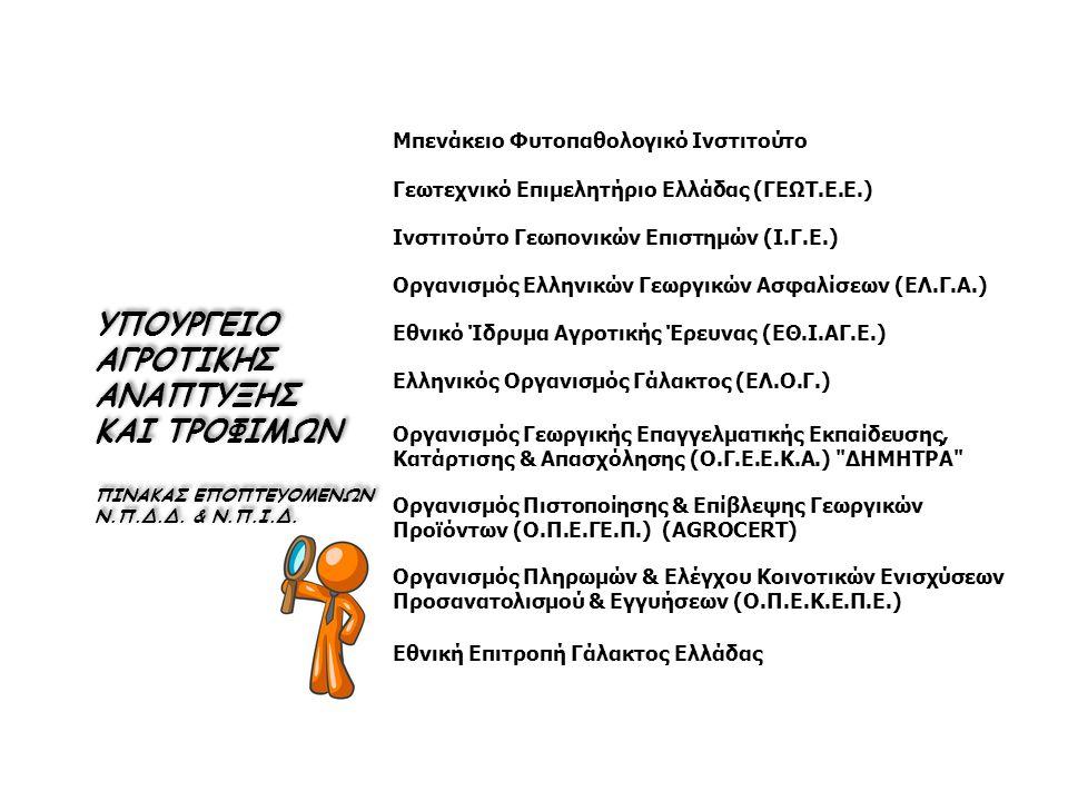 Μπενάκειο Φυτοπαθολογικό Ινστιτούτο Γεωτεχνικό Επιμελητήριο Ελλάδας (ΓΕΩΤ.Ε.Ε.) Ινστιτούτο Γεωπονικών Επιστημών (Ι.Γ.Ε.) Οργανισμός Ελληνικών Γεωργικών Ασφαλίσεων (ΕΛ.Γ.Α.) Εθνικό Ίδρυμα Αγροτικής Έρευνας (ΕΘ.Ι.ΑΓ.Ε.) Ελληνικός Οργανισμός Γάλακτος (ΕΛ.Ο.Γ.) Οργανισμός Γεωργικής Επαγγελματικής Εκπαίδευσης, Κατάρτισης & Απασχόλησης (Ο.Γ.Ε.Ε.Κ.Α.) ΔΗΜΗΤΡΑ Οργανισμός Πιστοποίησης & Επίβλεψης Γεωργικών Προϊόντων (Ο.Π.Ε.ΓΕ.Π.) (AGROCERT) Οργανισμός Πληρωμών & Ελέγχου Κοινοτικών Ενισχύσεων Προσανατολισμού & Εγγυήσεων (Ο.Π.Ε.Κ.Ε.Π.Ε.) Εθνική Επιτροπή Γάλακτος Ελλάδας ΥΠΟΥΡΓΕΙΟ ΑΓΡΟΤΙΚΗΣ ΑΝΑΠΤΥΞΗΣ ΚΑΙ ΤΡΟΦΙΜΩΝ ΠΙΝΑΚΑΣ ΕΠΟΠΤΕΥΟΜΕΝΩΝ Ν.Π.Δ.Δ.