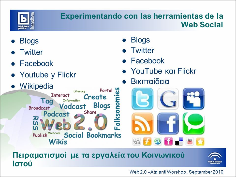 Web 2.0 –Atalanti Worshop, September 2010 Experimentando con las herramientas de la Web Social  Blogs  Twitter  Facebook  Youtube y Flickr  Wikipedia  Blogs  Twitter  Facebook  YouTube και Flickr  Βικιπαίδεια Πειραματισμοί με τα εργαλεία του Κοινωνικού Ιστού