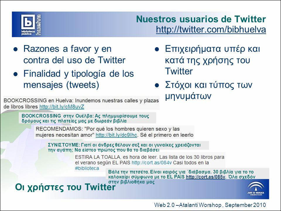 Web 2.0 –Atalanti Worshop, September 2010 Nuestros usuarios de Twitter http://twitter.com/bibhuelva  Razones a favor y en contra del uso de Twitter  Finalidad y tipología de los mensajes (tweets)  Επιχειρήματα υπέρ και κατά της χρήσης του Twitter  Στόχοι και τύπος των μηνυμάτων Οι χρήστες του Twitter BOOKCROSSING στην Ουέλβα: Ας πλημμυρίσουμε τους δρόμους και τις πλατείες μας με δωρεάν βιβλία ΣΥΝΙΣΤΟΥΜΕ: Γιατί οι άνδρες θέλουν σεξ και οι γυναίκες χρειάζονται την αγάπη; Να είστεο πρώτος που θα το διαβάσει Βάλε την πετσέτα.