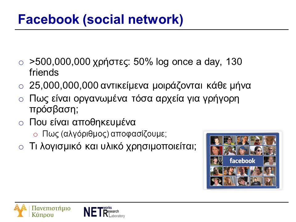 Facebook (social network) o >500,000,000 χρήστες: 50% log once a day, 130 friends o 25,000,000,000 αντικείμενα μοιράζονται κάθε μήνα o Πως είναι οργαν