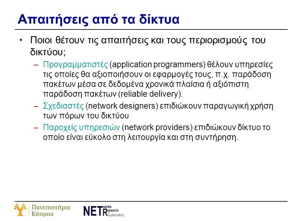 Απαιτήσεις από τα δίκτυα •Ποιοι θέτουν τις απαιτήσεις και τους περιορισμούς του δικτύου; –Προγραμματιστές (application programmers) θέλουν υπηρεσίες τ