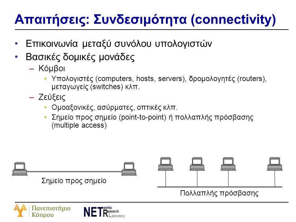 Απαιτήσεις: Συνδεσιμότητα (connectivity) •Επικοινωνία μεταξύ συνόλου υπολογιστών •Βασικές δομικές μονάδες –Κόμβοι •Υπολογιστές (computers, hosts, serv