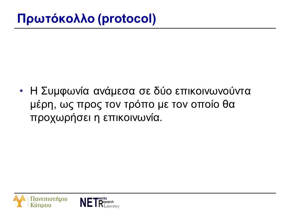 Πρωτόκολλο (protocol) •Η Συμφωνία ανάμεσα σε δύο επικοινωνούντα μέρη, ως προς τον τρόπο με τον οποίο θα προχωρήσει η επικοινωνία.